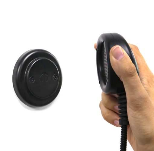 Heavy Duty Handset with Magnetic Hanger in use